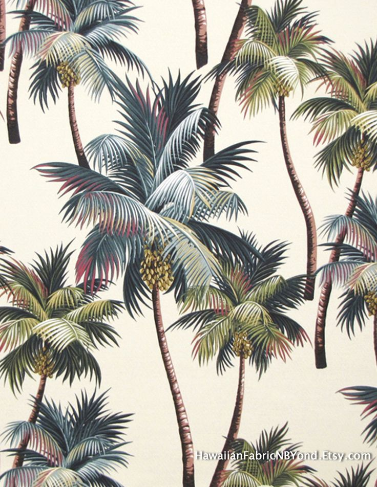 Hawaiian upholstery fabric: Stunning array of palm trees for Tropical home and office; duvet, furniture and curtains. Cotton bark. By HawaiianFabricNBYond.Etsy.com