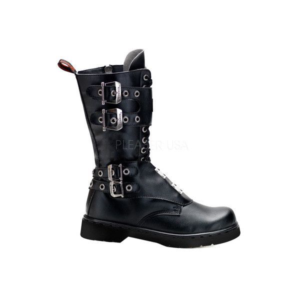 Men's Demonia Defiant 302 Boot ($97) ❤ liked on Polyvore featuring men's fashion, men's shoes, men's boots, casual, combat boots, mens zip up boots, mens military boots, mens army boots, mens black lace up boots and mens buckle boots