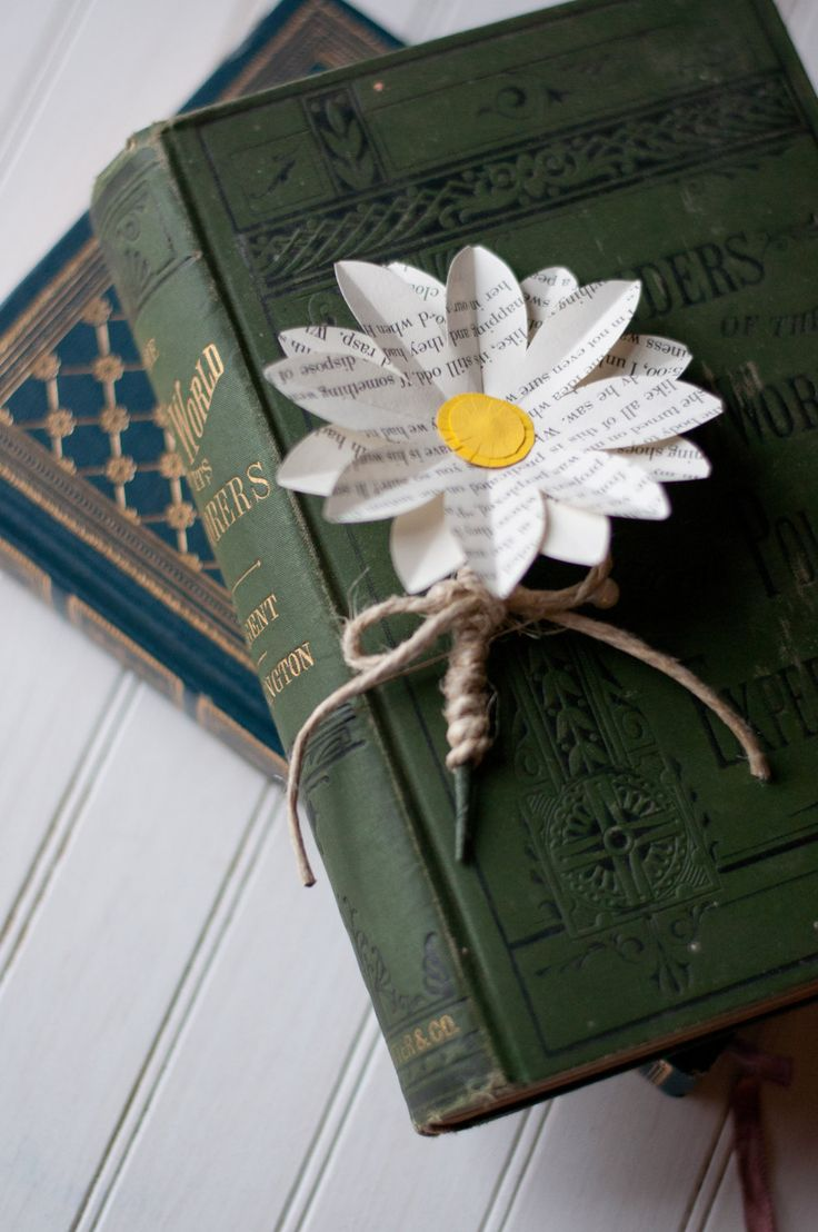Book Page Paper Daisy Wedding Boutonniere. $10.00, via Etsy.