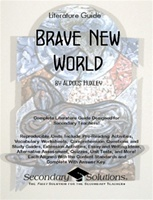 This Secondary Solutions Literature Guide for Brave New World contains 72 pages of student coursework, activities, quizzes, tests, and more, fully aligned with the Common Core State Standards for English Language Arts in Literature and NCTE/IRA National ELA Curriculum and Content Area Standards for tenth through twelfth grade. $18.95