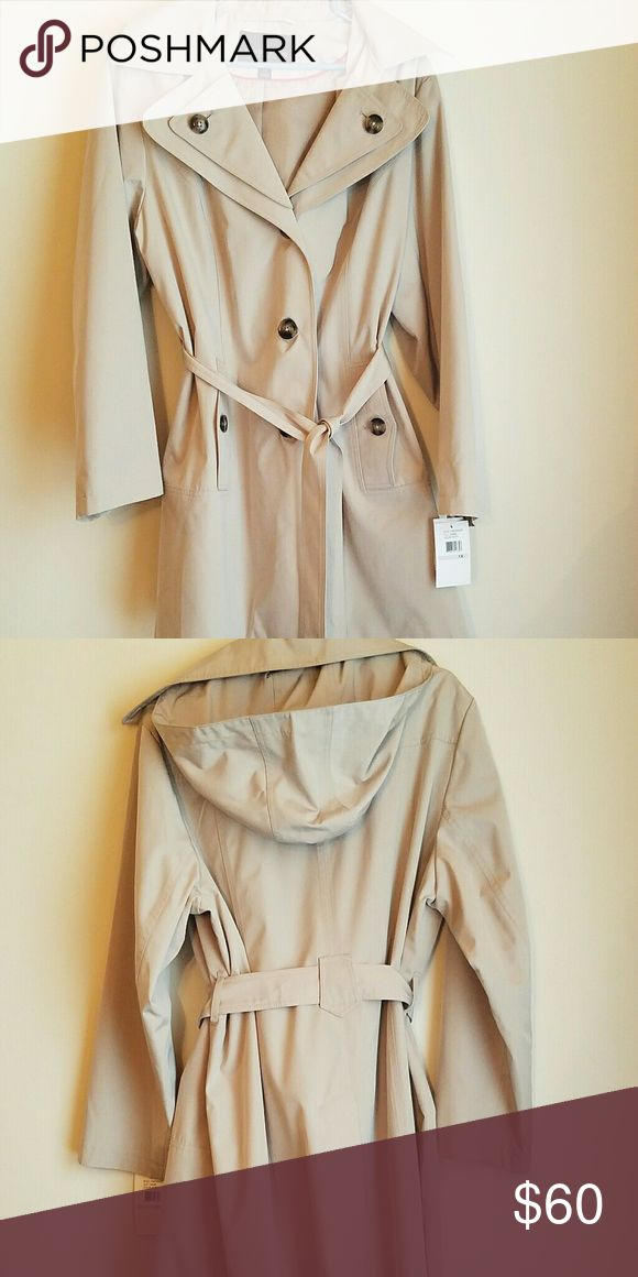 London Fog Trench Coat with Hood New, never worn London Fog Trench Coat. Knee length. London Fog Jackets & Coats Trench Coats