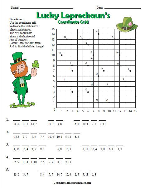 Use the coordinate grid to decode the Irish words, places and phrases. Trace the dots from A-Z to find the hidden image! Includes answer sheet.