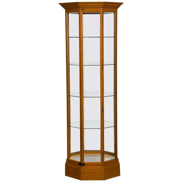 Octagonal Oak Display Cabinet with Glass Sides 1