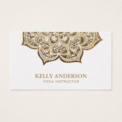 Stylish Gold Lotus Mandala Yoga Instructor Business Card - diy cyo personalize design idea new special custom