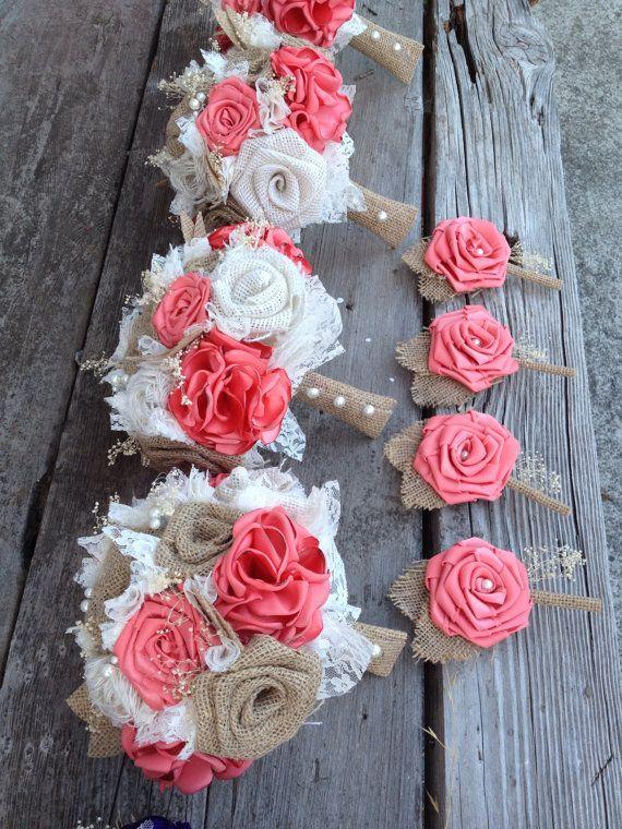 Beautiful coral silk and natural burlap by BurlapandLacePlace