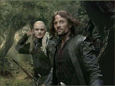 """Legolas and Aragorn - they look like they're taking a selfie. """"Hey just hanging out killing some Orcs. Normal day really."""""""