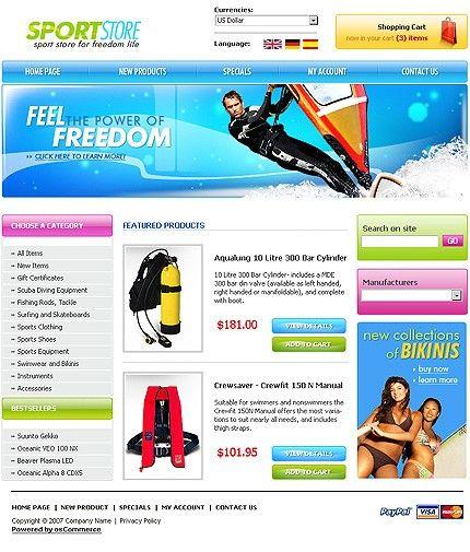 Sport Goods osCommerce Templates by Modlin