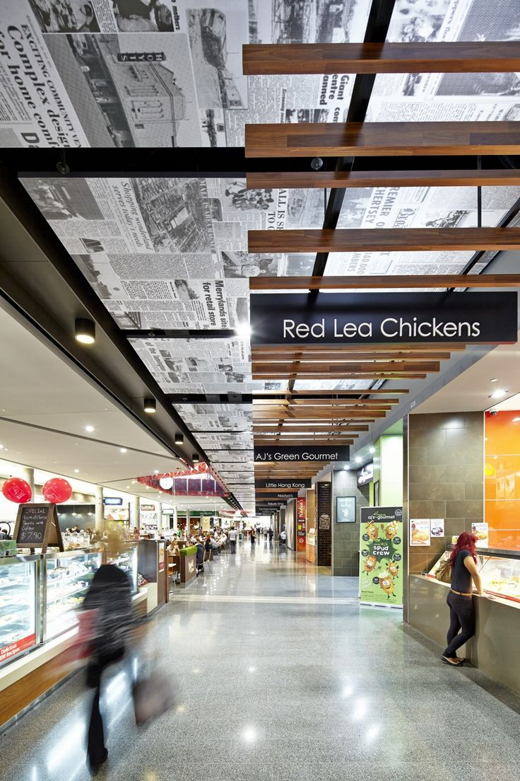 Newspaper Print Ceiling designed by Thoughtspace. Merrylands Shopping Centre. Photography by Steve Brown
