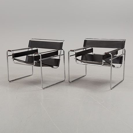 "MARCEL BREUER, fåtöljer, ett par, ""Wassily chair"", Gavina, 1970/80-tal."