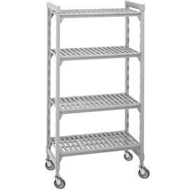 """Cambro Standard Mobile Shelf Truck - 4 Vented Shelves 24x42x75 by CAMBRO MANUFACTURNG COMP. $494.95. Cambro Standard Mobile Shelf Truck - 5 Vented Shelves 24x42x75 This Mobile Plastic Shelving features 5"""" chrome casters. Recommended for dry storage. Plastic shelving utilizes ion-technology that inhibits growth of mold, fungus & bacteria. Mobile plastic shelving is great for storing food in restaurants and kitchen environments. Camguard finish won't scrape off, wash off or ..."""