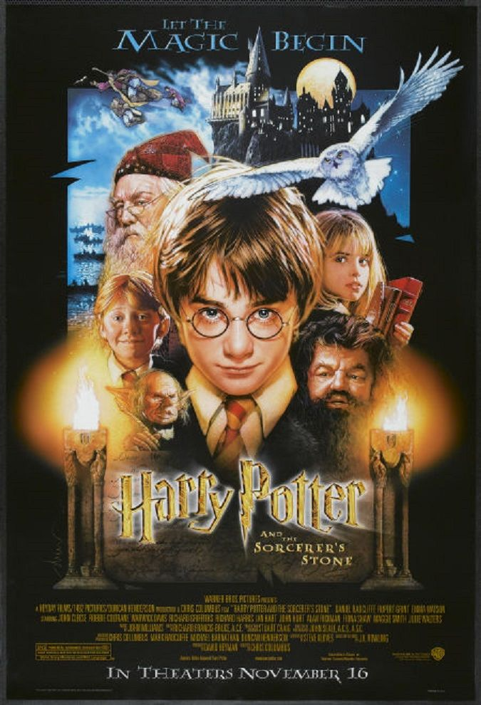 Original one sheet poster of the US version of the first Harry Potter