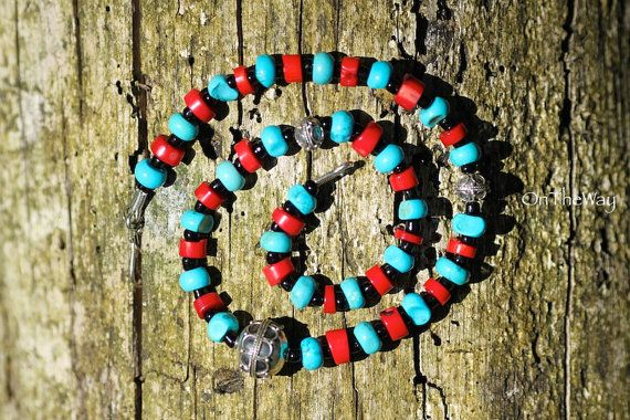 Red coral and turquoise necklace by LanguWorld on Etsy