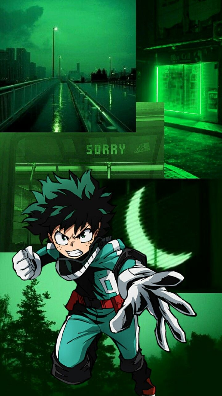 Izuku Midoriya Dark Green Aesthetic Dark Green Wallpaper Aesthetic Anime