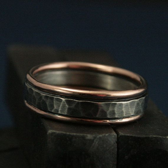 DIMENSIONS: 6mm wide x 1.5mm thick  -->MATERIALS: 14K Rose Gold and Sterling Silver    The Paragon is the quintessential mens ring. Its rustic