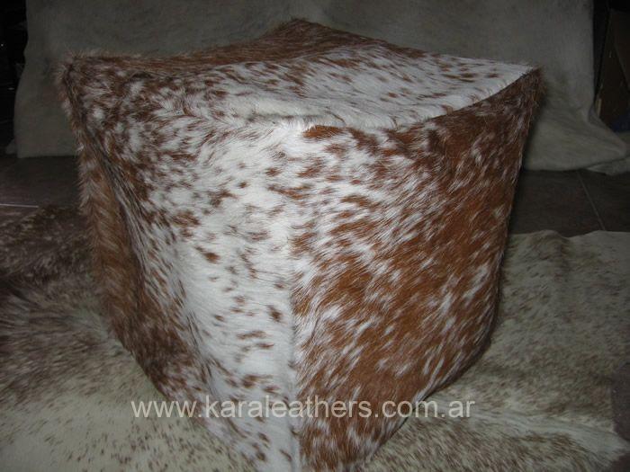 cowhide cube! hair on !  cubo de cuero de vaca con pelo