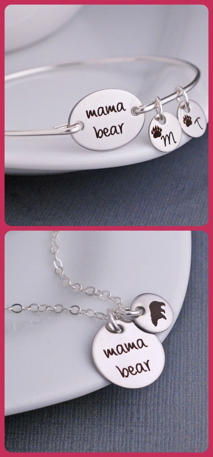 Mama bear necklace and bracelet!  Perfect jewelry gift for mom with the kids initials.  Don't mess with the Mama!