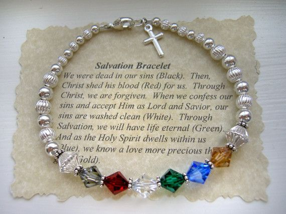 Christian SALVATION Prayer Bracelet Sterling Silver Swarovski Crystal wtih cross charm. $40.00, via Etsy.