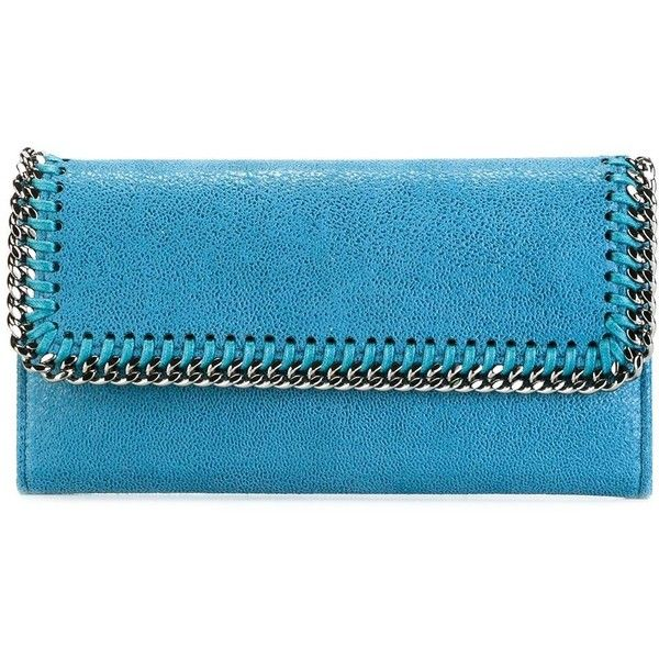 Stella McCartney Falabella flap wallet (£285) ❤ liked on Polyvore featuring bags, wallets, blue, blue wallet, faux leather bag, stella mccartney bag, fake leather wallet and real leather wallets