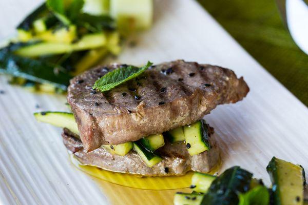 Tuna Pepper Steak with Cucumber Sesame Salad