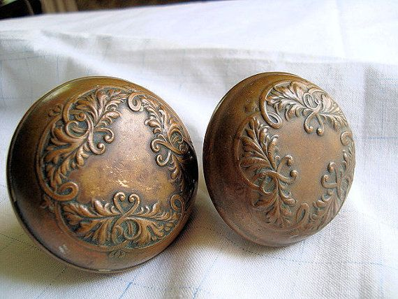 Antique | Antique Brass Door Knobs. Victorian. Ornate.