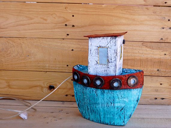Boat Night Light Paper Mache Boat Night Light Kids Nursery