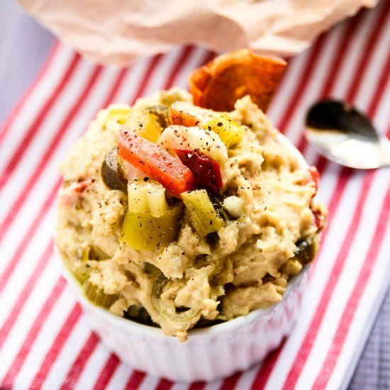 Hot  Spicy Giardiniera Hummus ~ An addictive snack that tastes better than the store bought kind + costs half the price to make!