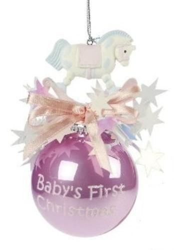 Baby`s First Christmas Bauble with Rocking Horse (Pink)  NEW  19590 #Weiste