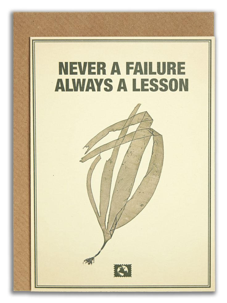 """Never a failure always a lesson"". #messageearth #sustainable #greetingcards #sustainability #eco #design #ecodesign #vintage #cards #peculiar"