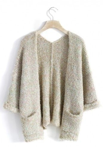 Shimmery Fluffy Oversized Knitted Cardigan