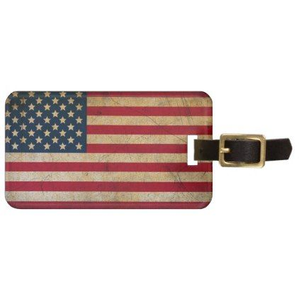 Vintage American Flag Luggage Tag - red gifts color style cyo diy personalize unique