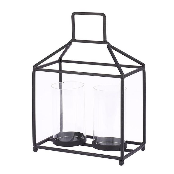 METAL/GLASS CANDLE HOLDER IN BLACK COLOR W/2 SECTIONS 23X13X33 - inart