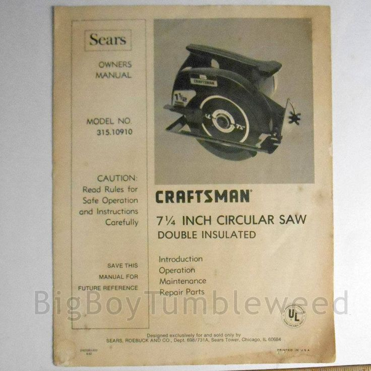 "VINTAGE SEARS Craftsman 7 1/4"" circular saw power tool BOOKLET repair parts Book Owners manual home illustrated guide carpentry #woodworking #VINTAGE #SEARS #Craftsman 7 1/4"" #circular #saw power #tool BOOKLET #manual #guide #book #etsy #studio"