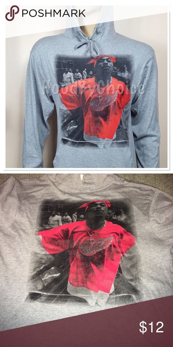 Sale!! Tupac Red Wings Lightweight Jersey  Hoodie New 100% Cotton T-Shirt Feel Hoodie. Lightweight. Reg. Sells for $20 Sale Price firm unless bundled. Sizes Small- 2X available in separate listings Shirts Sweatshirts & Hoodies