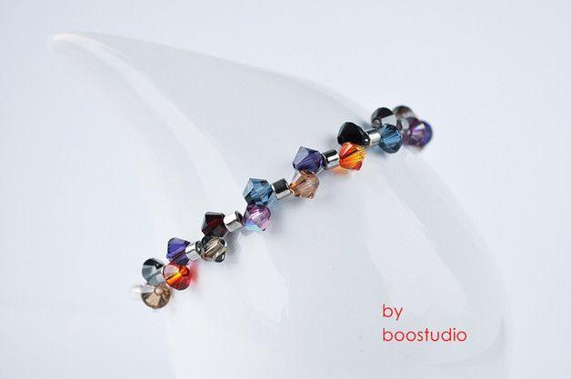 Swarovski bicone bracelet - delikatna bransoletka z różnokolorowych kryształów SWAROVSKIEGO - BICONE  i japońskich koralików MIYUKI, z posrebrzanym zapięciem.