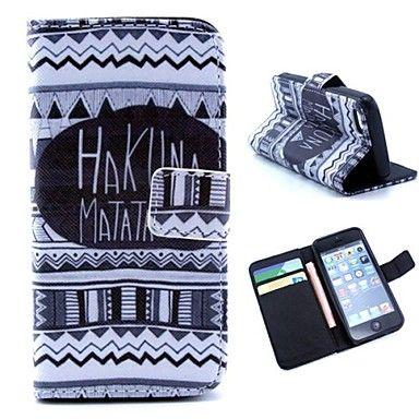 tribale tapijten met engels brieven patroon pu lederen full body tas met standaard en geld houder voor de iPhone 5c – EUR € 8.50