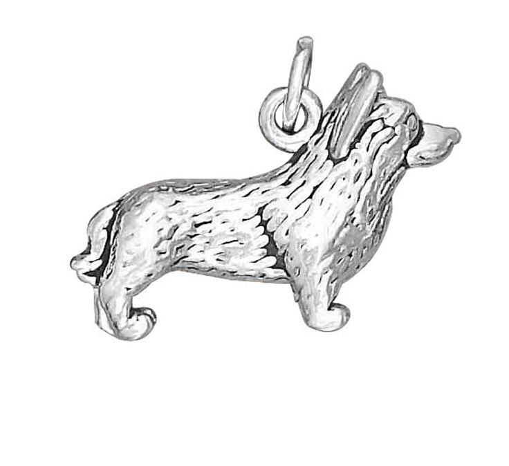 """Sterling Silver Womens 30"""" 1mm Box Chain 3D CORGI Dog Breed Animal Pendant Necklace. 925 Sterling Silver Jewelry. Made In The USA!."""