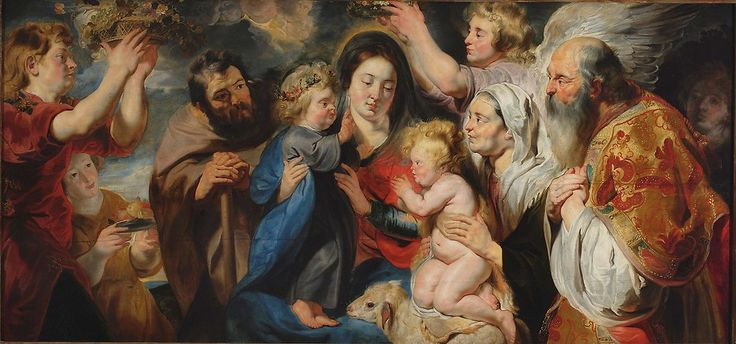Holy Family with the family of St. John the Baptist / La Sagrada Familia con la familia de San Juan Bautista // 1616-1617 // Jacob Jordaens // The National Museum in Warsaw  // #SaintElizabeth #Zechariah