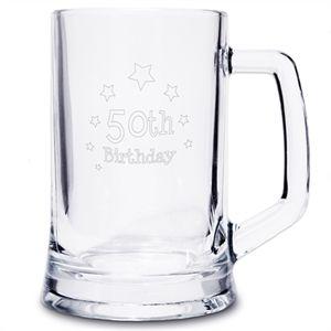 50th Birthday Engraved Beer Tankard