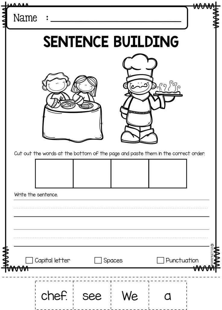 september sentence building english worksheets sentence building kindergarten classroom. Black Bedroom Furniture Sets. Home Design Ideas