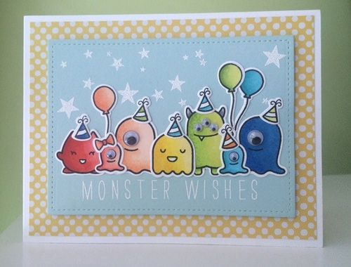 https://flic.kr/p/wFoKhY   Monster Wishes   Lawn Fawn Monster Mash, Year Four and Bella Letters stamp sets. Stars are from Winnie and Walter Big Bang Confetti