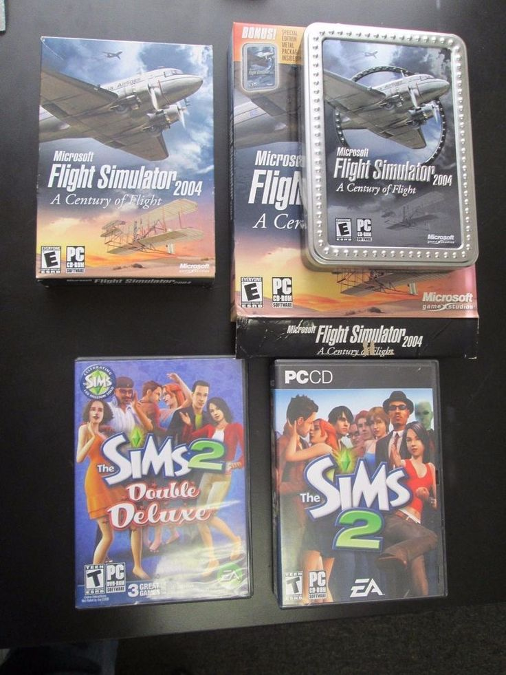Collection Computer DVD games PC CD's Flight Simulator 2004,Sims 2, X-Plane 9 ++