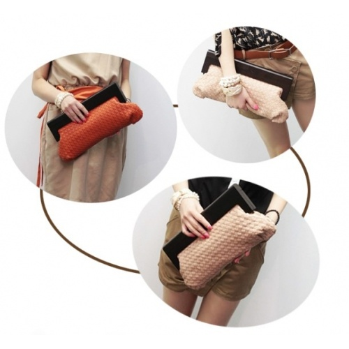 Solid Orange Zipper PU Fashion Bags $7.90