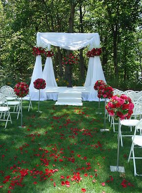 decoracion ceremona civil en rojos