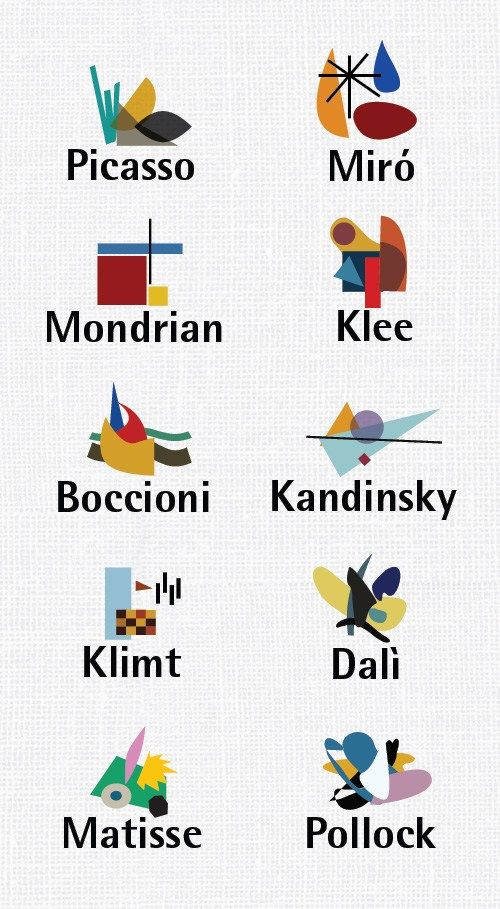 #Pollock #Dalí #Matisse #Klimt #Picasso #Mondrian #Klee #Boccioni #Kandinsky #Miro - Who is your favorite #Artist?