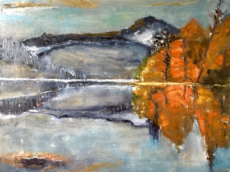 The winter lake, oil on canvas