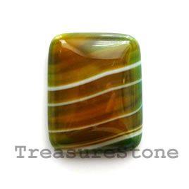 Cabochon, agate (dyed), 17x22mm rectangle. #TreasureStone Beads Edmonton.