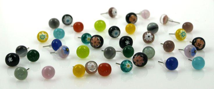 Stud earrings made of fused glass