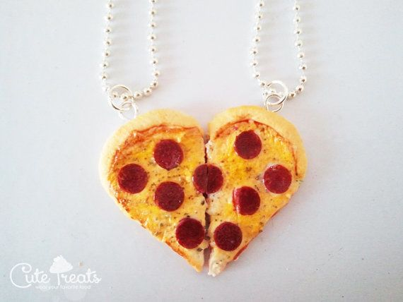 Best Friends Pizza Necklace  Food Jewelry  Heart by Cutetreats, $30.00