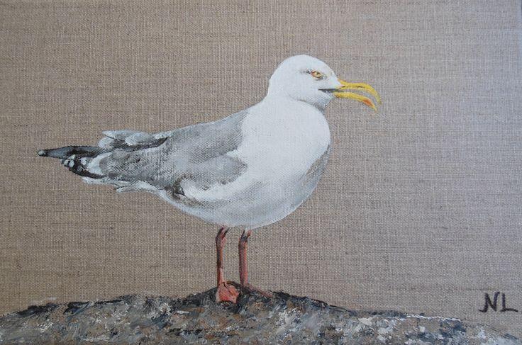 tableau d 39 oiseau le go land argent peinture animali re sur toile de lin 20 x 30 cm pour. Black Bedroom Furniture Sets. Home Design Ideas