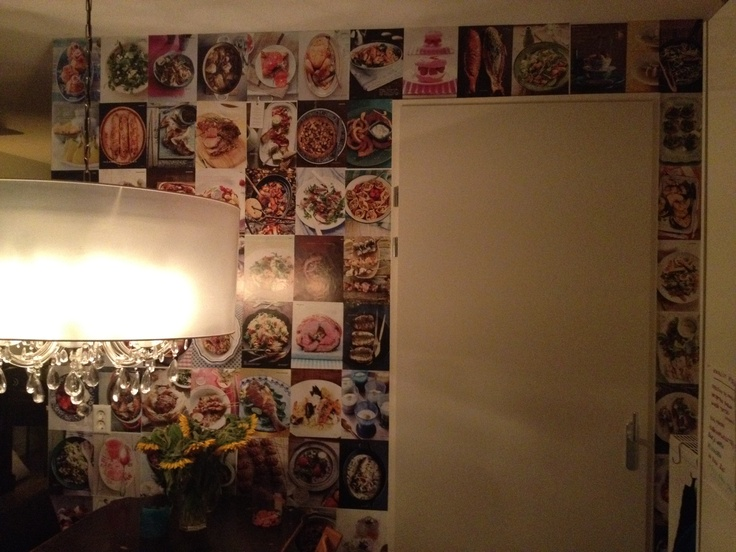 74 pretty foody pictures from Delicious Magazine NL on the wall.
